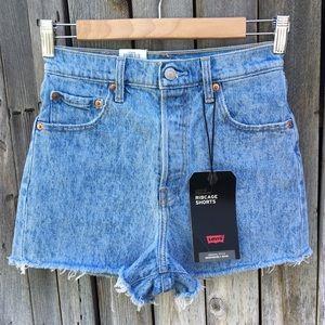 NWT Levi's Ribcage Jean Shorts Tango Tumble Blue